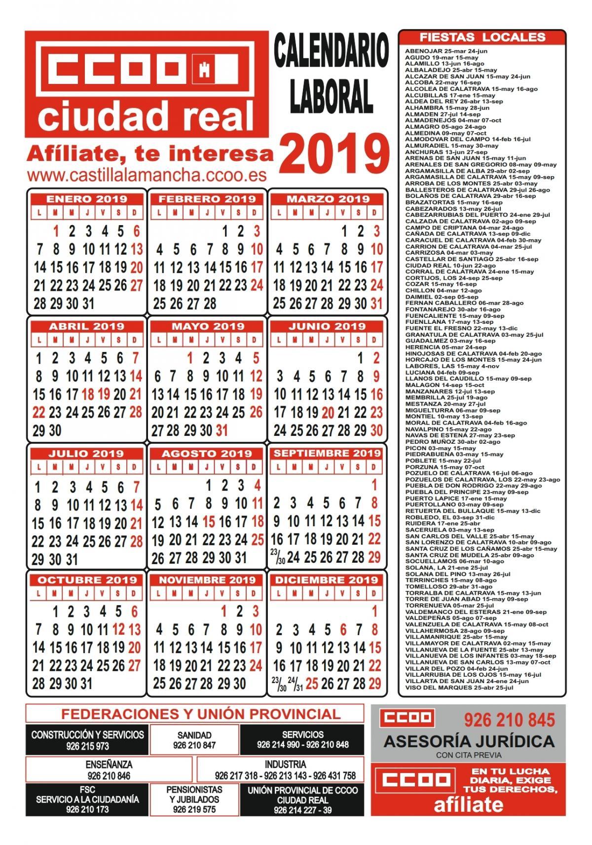 Calendario Laboral 2019 Ciudad Real.Comisiones Obreras De Castilla La Mancha